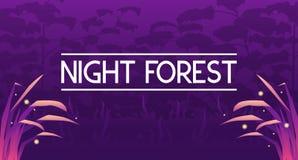 Donkere mysticus violette bosbanner stock illustratie