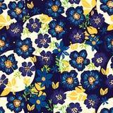 Donkere naadloze patroon van de anemoon het blauwe bloem royalty-vrije illustratie