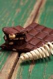 Donkere nootchocolade en pedig spiraal Stock Foto's
