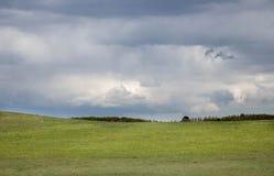 Donkere onweerswolken over een rollend groen weiland Royalty-vrije Stock Afbeelding