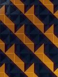 Donkere oppervlakte met een patroon van oranje panelen het 3d teruggeven Stock Fotografie