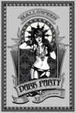 Donkere partij tamplate Sexy muertomeisje wijnoogst Stock Fotografie