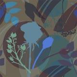 Donkere purpere cirkels, blauwe, groene bloemen en bladeren op leger groene achtergrond Abstract bloemenpatroon in sering en groe royalty-vrije illustratie