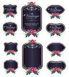 Donkere purpere de bloemetiketten van de luxeuitnodiging en lege etiketten Royalty-vrije Stock Afbeelding
