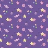 Donkere purpere heldere naadloze van de het dessertbaby van het patroonsuikergoed roze van de de sterrenpruim leuke van het de ge vector illustratie