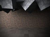 Donkere ruimte Oude Bakstenen muur Concrete architectuurachtergrond Royalty-vrije Stock Fotografie
