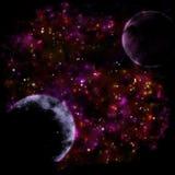 Donkere ruimteachtergrond met planeten stock illustratie