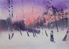 Donkere schemering in een bosje van de de winterberk stock illustratie