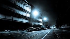 Donkere Straat bij Nacht Stock Afbeelding