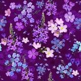 Donkere tuin bij nacht, volledige bloeiende wilde bloem in velen verscheidenheden bloemen seizoengebonden naadloos vectorpatroon, vector illustratie