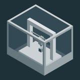 Donkere Vector isometrische 3D printer vector illustratie
