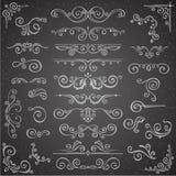 Donkere Vectorreeks Wervelingselementen voor Kaderontwerp Kalligrafische paginadecoratie, Etiketten, banners, antiek en barok Stock Afbeeldingen