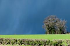 Donkere wolken, onweren en zonneschijn met veranderlijk Brits weer in de vroege lente stock foto's