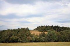 Donkere wolken over de weide Stock Afbeelding