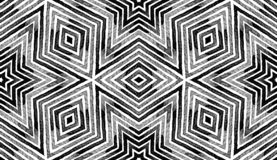Donkere zwart-witte Geometrische Waterverf fatsoenlijk royalty-vrije stock afbeelding