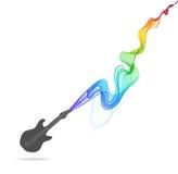 Donkergrijs gitaarpictogram met kleuren abstracte golf Stock Fotografie