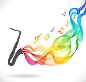 Donkergrijs saxofoonpictogram met kleuren abstracte golf Stock Afbeelding