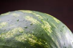 Donkergroene oppervlakte van grote watermeloen met waterdalingen Stock Fotografie