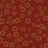 Donkerrode Geweven Achtergrond met Gouden Sterren Stock Foto