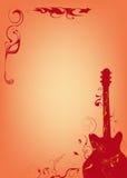 Donkerrode gitaar Stock Illustratie