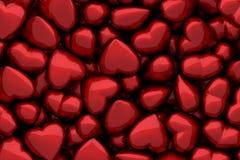 Donkerrode glanzende harten als achtergrond Royalty-vrije Stock Afbeelding