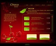 Donkerrode het patroonwebsite van Vecto, winkel met kersen Royalty-vrije Stock Afbeeldingen