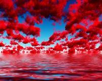 Donkerrode Wolken stock illustratie