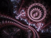Donkerrood fractal uurwerk stock illustratie