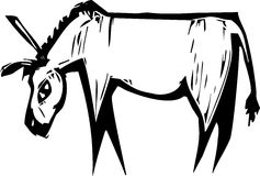 Donkey. Simple expressionist image of a donkey in woodcut style Royalty Free Stock Photo