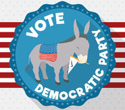 Donkey in American Design Promoting Vote for Democratic Party, Vector Illustration Stock Images