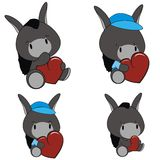 Donkey baby cartoon heart set Royalty Free Stock Images