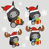 Donkey baby cartoon xmas set Royalty Free Stock Image