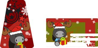Donkey baby claus cartoon xmas giftcard Royalty Free Stock Photography
