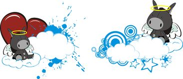Donkey baby cute angel cartoon cloud set. Donkey baby cute angel cartoon cloud in vector format Stock Photography