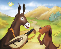 Donkey with balalaika and dog. A donkey playing a balalaika and a dog. Digital illustration of the Grimms fairy tale: Bremen town musicians Stock Photography
