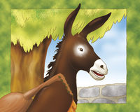 Donkey with balalaika- fairy tale. A musician donkey with a balalaika. Digital illustration of the Grimms fairy tale: Bremen town musicians Royalty Free Stock Photo