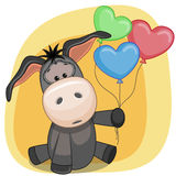 Donkey with balloons Stock Photos