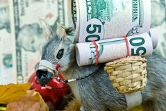 Donkey with big money - a christmas scene Royalty Free Stock Photos