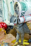 Donkey with big money - a christmas scene Royalty Free Stock Images