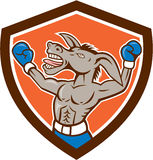 Donkey Boxing Celebrate Shield Cartoon Royalty Free Stock Image