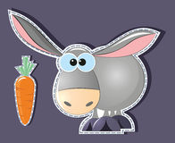 Donkey and carrot Royalty Free Stock Photography