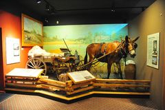 Donkey and Cart hauling cotton Exhibit at the Tunica Museum in North Mississippi. Royalty Free Stock Image