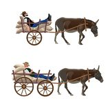 Donkey cart with lying man. Man is lying in a donkey cart in different poses. Set of vector illustration isolated on white background royalty free illustration