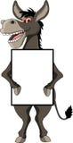 Donkey cartoon with blank sign. Vector illustration of donkey cartoon with blank sign Royalty Free Stock Photo