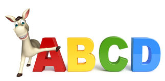 Donkey cartoon character with ABCD sign Royalty Free Stock Images