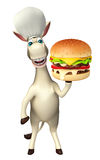 Donkey cartoon character with burger and chef hat. 3d rendered illustration of Donkey cartoon character with burger and chef hat Stock Photo