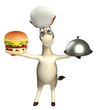 Donkey cartoon character with burger and cloche Royalty Free Stock Photo