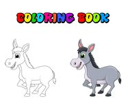 Donkey cartoon character coloring book vector design isolated on. White background vector illustration