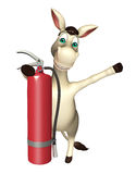 Donkey cartoon character with fire extinguisher Royalty Free Stock Photography