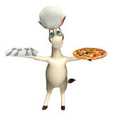Donkey cartoon character with pizza dinner plateand chef hat Stock Photos